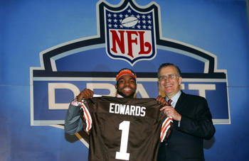 NEW YORK CITY - APRIL 23:  Wide Receiver Braylon Edwards (Michigan) poses with NFL Commissioner Paul Tagliabue after Edwards was drafted third overall by the Cleveland Browns during the 70th NFL Draft on April 23, 2005 at the Jacob K. Javits Convention Ce