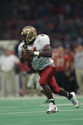 NEW ORLEANS - JANUARY 1:  Wide receiver Anquan Boldin #4 of the Florida State University Seminoles carries the ball during the Nokia Sugar Bowl game against the University of Georgia Bulldogs at the Louisiana Superdome on January 1, 2003 in New Orleans, L