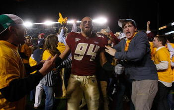 CHESTNUT HILL, MA - OCTOBER 18:  Mark Herzlich #94 of the Boston College Eagles celebrates after defeating the Virginia Tech Hokies, 28-23 on October 18, 2008 at Alumni Stadium in Chestnut Hill, Massachusetts.  (Photo by Jim Rogash/Getty Images)
