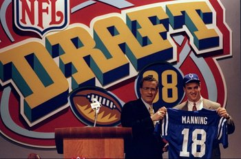 18 Apr 1998:  Quarterback Peyton Manning stands with NFL Commissioner Paul Tagliabue during the NFL draft at Madison Square Garden in New York City, New York. Mandatory Credit: Jamie Squire  /Allsport