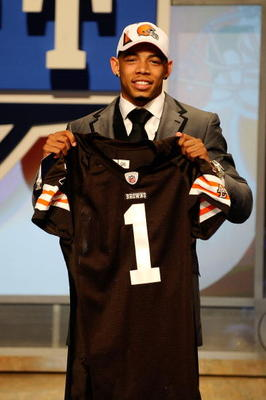 NEW YORK - APRIL 22:  Joe Haden from the Florida Gators holds up a Cleveland Browns jersey after he was selected #7 overall by the Browns during the first round of the 2010 NFL Draft at Radio City Music Hall on April 22, 2010 in New York City.  (Photo by