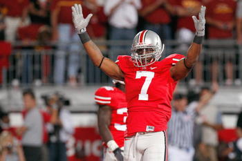 COLUMBUS, OH - SEPTEMBER 12: Jermale Hines #7 of the Ohio State Buckeyes reacts on the field during the game against the Southern California Trojans on September 12, 2009 at Ohio Stadium in Columbus, Ohio. The Trojans defeated the Buckeyes 18-15. (Photo b