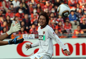SAITAMA, JAPAN - MARCH 20:   Shinzo Koroki of Kashima Antlers in action during the J.League match between Omiya Ardija and Kashima Antlers at Nack 5 Stadium on March 20, 2010 in Saitama, Japan.  (Photo by Koichi Kamoshida/Getty Images)