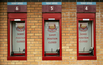 LONDON - MARCH 15:  A general view of closed ticket vending windows at West Ham United FC at the Boleyn Ground on March 15, 2011 in London, United Kingdom.  (Photo by Jeremy O'Donnell/Getty Images)