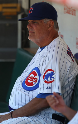 CHICAGO - JULY 21: Manager Lou Piniella #41 of the Chicago Cubs sits in the dugout before a game against the Houston Astros at Wrigley Field on July 21, 2010 in Chicago, Illinois. (Photo by Jonathan Daniel/Getty Images)