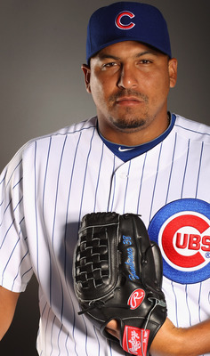 MESA, AZ - FEBRUARY 22:  Carlos Zambrano #38 of the Chicago Cubs poses for a portrait during media photo day at Finch Park on February 22, 2011 in Mesa, Arizona.  (Photo by Ezra Shaw/Getty Images)