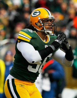 GREEN BAY, WI - DECEMBER 27: Nick Barnett #56 of the Green Bay Packers takes a bow for the fans after sacking Matt Hasselbeck of the Seattle Seahawks at Lambeau Field on December 27, 2009 in Green Bay, Wisconsin. The Packers defeated the Seahawks 48-10. (
