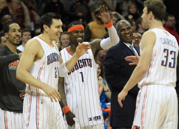 CHARLOTTE, NC - FEBRUARY 25:  Stephen Jackson #1 of the Charlotte Bobcats celebrates with teammates during their game against the Sacramento Kings at Time Warner Cable Arena on February 25, 2011 in Charlotte, North Carolina. NOTE TO USER: User expressly a