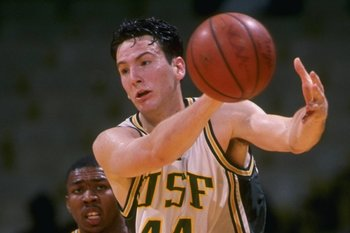 5 Dec 1995:  Forward John Duggan of the University of San Francisco Dons moves the ball against the California Bears during a game played at Memorial Gymnasium in San Francisco, California.  The Bears won the game, 83-70. Mandatory Credit: Otto Greule/All