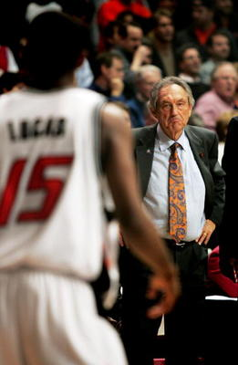CHICAGO - MARCH 24:  Head coach Eddie Sutton of the Oklahoma State Cowboys looks toward John Lucas #15 after Lucas just missed a game winning shot against the Arizona Wildcats in game two of the Chicago Regional in the NCAA Division I Men's Basketball Cha