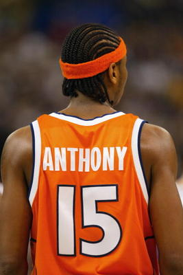 NEW ORLEANS - APRIL 7:  Carmelo Anthony #15 of Syracuse looks on against Kansas during the championship game of the NCAA Men's Final Four Tournament on April 7, 2003 at the Louisiana Superdome in New Orleans, Louisiana.  Syracuse defeated Kansas 81-78 win