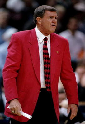 15 Mar 1996:  Head coach Denny Crum of the Louisville Cardinals looks on during a game against the Tulsa Golden Hurricane at the Bradley Center in Milwaukee, Wisconsin.  Louisville won the game, 82-80. Mandatory Credit: Craig Jones  /Allsport