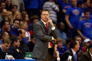 LAWRENCE, KS - FEBRUARY 18:  Head Coach Bill Self of the Kansas Jayhawks looks on from the bench area during the game against the Iowa State Cyclones on February 18, 2009 at Phog Allen Fieldhouse in Lawrence, Kansas. Kansas defeated Iowa State 72-55. (Pho