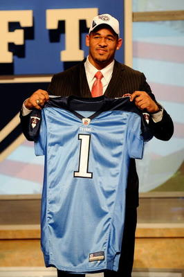 NEW YORK - APRIL 22:  Derrick Morgan from the Georgia Tech Yellow Jackets holds up a Tennessee Titans jersey after the Titans selected him number 16 overall during the first round of the 2010 NFL Draft at Radio City Music Hall on April 22, 2010 in New Yor