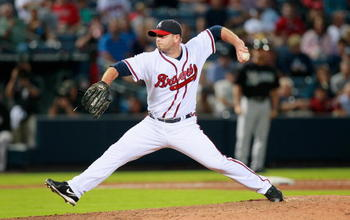 ATLANTA - SEPTEMBER 29:  Pitcher Billy Wagner #13 of the Atlanta Braves against the Florida Marlins at Turner Field on September 29, 2010 in Atlanta, Georgia.  (Photo by Kevin C. Cox/Getty Images)
