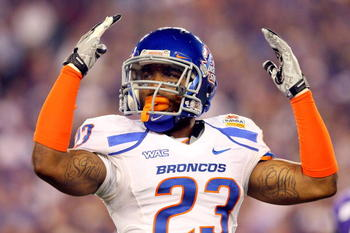 GLENDALE, AZ - JANUARY 04:  Jeron Johnson #23 of the Boise State Broncos reacts in the first half against the TCU Horned Frogs during the Tostitos Fiesta Bowl at the Universtity of Phoenix Stadium on January 4, 2010 in Glendale, Arizona.  (Photo by Christ
