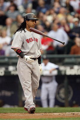 SEATTLE - JULY 22:  Manny Ramirez #24 of the Boston Red Sox steps to the plate against the Seattle Mariners on July 22, 2008 at Safeco Field in Seattle, Washington. (Photo by Otto Greule Jr/Getty Images)