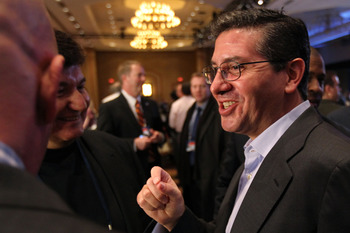 DALLAS, TX - FEBRUARY 04:  Owner of the Washington Redskins Daniel Snyder speaks to reporters during a press conference with NFL commissioner Roger Goodell at the Super Bowl XLV media center on February 4, 2011 in Dallas, Texas. The Green Bay Packers will