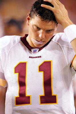 LANDOVER, MD - AUGUST 19:  Quarterback Patrick Ramsey #11 of the Washington Redskins reacts from the sidelines during the second half of the preseason game against the Cincinnati Bengals on August 19, 2005 at FedEx Field in Landover, Maryland. Ramsey thre