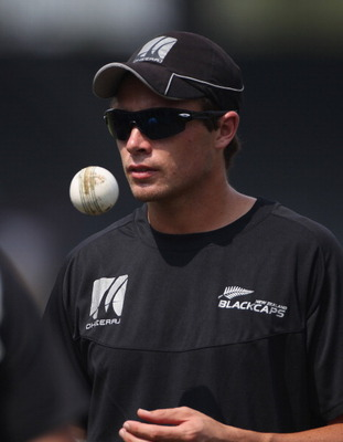 COLOMBO, SRI LANKA - MARCH 28:  Tim Southee of New Zealand looks on during the New Zealand nets session at the R Premedasa Stadium on March 28, 2011 in Colombo, Sri Lanka.  (Photo by Tom Shaw/Getty Images)