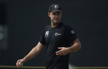 COLOMBO, SRI LANKA - MARCH 28:  Daniel Vettori of New Zealand looks on during the New Zealand nets session at the R Premedasa Stadium on March 28, 2011 in Colombo, Sri Lanka.  (Photo by Tom Shaw/Getty Images)