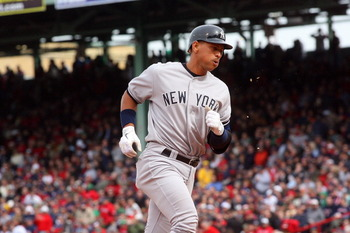 BOSTON, MA - APRIL 8:  Alex Rodriguez #13 of the New York Yankees rounds the bases after hitting a home run in the fifth inning against the Boston Red Sox during opening game at Fenway Park, April 8, 2011 in Boston, Massachusetts. (Photo by Gail Oskin/Get