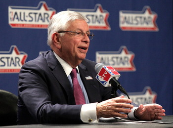 LOS ANGELES, CA - FEBRUARY 19:  NBA Commissioner David Stern addresses the media before the start of NBA All-Star Saturday Night at Staples Center on February 19, 2011 in Los Angeles, California.  (Photo by Noel Vasquez/Getty Images)