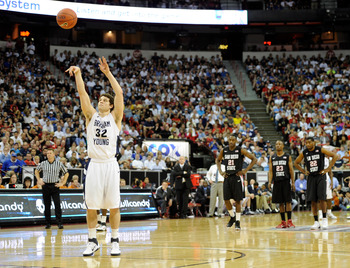 LAS VEGAS, NV - MARCH 12:  Jimmer Fredette #32 of the Brigham Young University Cougars shoots a technical free throw during the championship game of the Conoco Mountain West Conference Basketball tournament against the San Diego State Aztecs at the Thomas