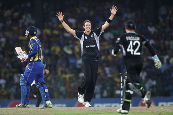 COLOMBO, SRI LANKA - MARCH 29:  Tim Southee (C) of New Zealand celebrates bowling Chamara Silva (L) during the 2011 ICC World Cup Semi-Final match between New Zealand and Sri Lanka at the R. Premadasa Stadium on March 29, 2011 in Colombo, Sri Lanka.  (Pho