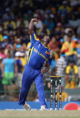 COLOMBO, SRI LANKA - MARCH 26:  Muttiah Muralitharan of Sri Lanka in action during the 2011 ICC World Cup Quarter-Final match between Sri Lanka and England at the R. Premadasa Stadium on March 26, 2011 in Colombo, Sri Lanka.  (Photo by Tom Shaw/Getty Imag