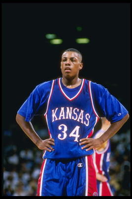 7 Dec 1996:  Forward Paul Pierce of the Kansas Jayhawks stands on the court during a game against the California at Los Angeles Bruins at the Pauley Pavillion in Los Angeles, California.  Kansas won the game 96-83. Mandatory Credit: Stephen Dunn  /Allspor