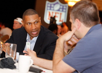 NEW ORLEANS, LA - MARCH 22:  Minnisota Vikings head coach Leslie Frazier answers questions from the media during the NFL Annual Meetings at the Roosevelt Hotel on March 22, 2011 in New Orleans, Louisiana. Despite a NFL owners imposed lockout in effect sin