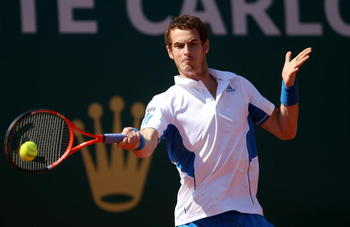 MONTE CARLO, MONACO - APRIL 14:  Andy Murray of Great Britain in action in his match against Philipp Kohlschreiber of Germany during day three of the ATP Masters Series at the Monte Carlo Country Club on April 14, 2010 in Monte Carlo, Monaco.  (Photo by J