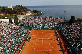 MONTE CARLO, MONACO - APRIL 16:  A general view of Novak Djokovic of Serbia in action in his match against David Nalbandian of Argentina during day five of the ATP Masters Series at the Monte Carlo Country Club on April 16, 2010 in Monte Carlo, Monaco.  (
