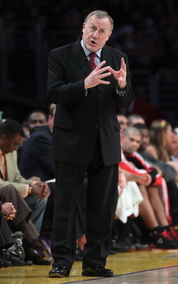LOS ANGELES, CA - FEBRUARY 01:  Houston Rockets head coach Rick Adelman gestures during the game against the Los Angeles Lakers at Staples Center on February 1, 2011 in Los Angeles, California. The Lakers defeated the Rockets 114-106. NOTE TO USER: User e