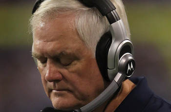 MINNEAPOLIS - OCTOBER 17:  Dallas Cowboys head coach Wade Phillips looks on during the game against the Minnesota Vikings at Mall of America Field on October 17, 2010 in Minneapolis, Minnesota. The Vikings defeated the Cowboys 24-21.  (Photo by Jeff Gross