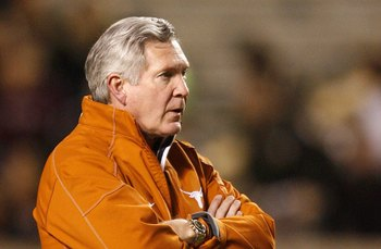 COLLEGE STATION, TX - NOVEMBER 26:  Head coach Mack Brown of the Texas Longhorns looks on prior heir game against the Texas A&M Aggies at Kyle Field on November 26, 2009 in College Station, Texas. The Longhorns defeated the Aggies 49-39. (Photo by Aaron M