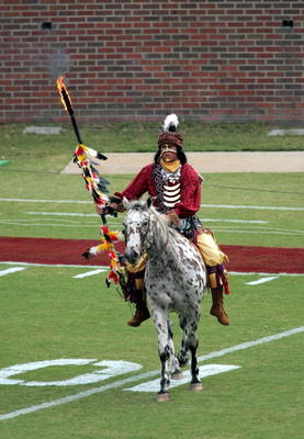 TALLAHASSEE, FL - NOVEMBER 05:  Chief Osceola and his horse Renagade perform on the field before the visiting North Carolina State Wolfpack take on the Florida State Seminoles at Doak Campbell Stadium on November 5, 2005 in Tallahassee, Florida. NC State