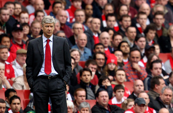 LONDON, ENGLAND - APRIL 02:  Arsenal manager Arsene Wenger looks on during the Barclays Premier League match between Arsenal and Blackburn Rovers at the Emirates Stadium on April 2, 2011 in London, England.  (Photo by Julian Finney/Getty Images)