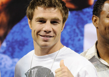 LAS VEGAS - JULY 30:  Boxer Michael Katsidis appears during the official weigh-in for WBA/WBO lightweight champion Juan Manuel Marquez and Juan Diaz at the Mandalay Bay Events Center July 30, 2010 in Las Vegas, Nevada. Marquez will defend his titles again