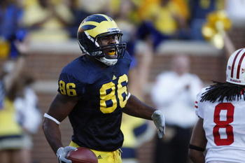 ANN ARBOR, MI - SEPTEMBER 27:  Kevin Koger #86 of the Michigan Wolverines exults during the game against the Wisconsin Badgers on September 27, 2008 at Michigan Stadium in Ann Arbor, Michigan. (Photo by Gregory Shamus/Getty Images)