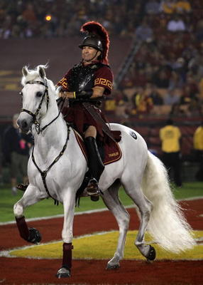 LOS ANGELES, CA - NOVEMBER 03:  The USC Trojans mascot 'Traveler' walks the end zone during the college football game against the Oregon State Beavers at the Los Angeles Memorial Coliseum on November 3, 2007 in Los Angeles, California. USC defeated Oregon