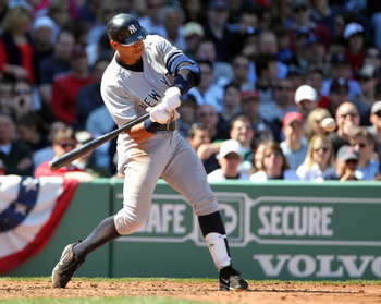 BOSTON, MA - APRIL 9:  Alex Rodriguez #13 of the New York Yankees hits a double against the Boston Red Sox in the first inning at Fenway Park April 9, 2011 in Boston, Massachusetts. (Photo by Jim Rogash/Getty Images)