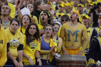 ANN ARBOR, MI - SEPTEMBER 27:  Michigan Wolverines fans look on during the game against the Wisconsin Badgers on September 27, 2008 at Michigan Stadium in Ann Arbor, Michigan. (Photo by Gregory Shamus/Getty Images)