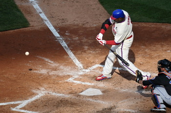 PHILADELPHIA, PA - APRIL 07: Ryan Howard #6 of the Philadelphia Phillies hits a single during the game against the New York Mets at Citizens Bank Park on April 7, 2011 in Philadelphia, Pennsylvania. The Phillies won 11-0. (Photo by Drew Hallowell/Getty Im