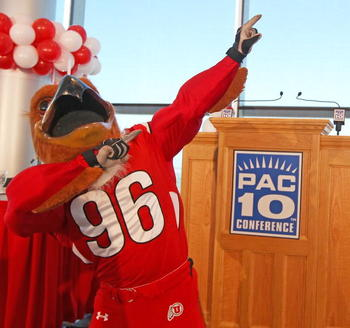 SALT LAKE CITY, UT - JUNE 17: University of Utah mascot Swoop poses before the announcement that the University will be admitted into the PAC-10 June 17, 2010 in Salt Lake City, Utah. The University of Utah was invited to join the PAC-10 for the 2011-12 a