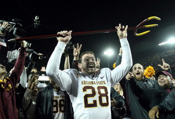 TUCSON, AZ - DECEMBER 02:  Kicker Thomas Weber #28 of the Arizona State Sun Devils celebrates holding the pitchfork after defeating the Arizona Wildcats in college football game at Arizona Stadium on December 2, 2010 in Tucson, Arizona. The Sun Devils def