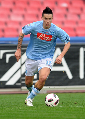 NAPLES, ITALY - MARCH 06:  Marek Hamsik of Napoli in action during the Serie A match between SSC Napoli and Brescia Calcio at Stadio San Paolo on March 6, 2011 in Naples, Italy.  (Photo by Giuseppe Bellini/Getty Images)