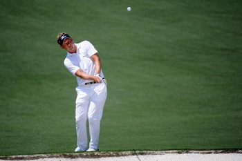 AUGUSTA, GA - APRIL 10:  Luke Donald of England hits a chip shot during the final round of the 2011 Masters Tournament at Augusta National Golf Club on April 10, 2011 in Augusta, Georgia.  (Photo by Harry How/Getty Images)
