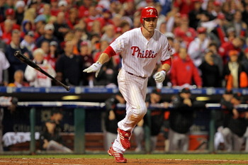 PHILADELPHIA - OCTOBER 23:  Chase Utley #26 of the Philadelphia Phillies walks against the San Francisco Giants in the ninth inning of Game Six of the NLCS during the 2010 MLB Playoffs at Citizens Bank Park on October 23, 2010 in Philadelphia, Pennsylvani